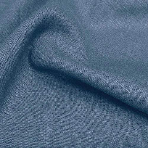 TOLKO 50cm Leinen-Stoff als Meterware | blickdichter Naturstoff | für Hose Rock Bluse Kleider Gewänder | fein gewebter Dekostoff für Vorhänge Gardinen und Dekorationen | 140cm breit (Rauch-Blau)