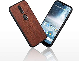 LittleBlack Wood Grain Nokia 4.2 Case, Retro Phone Cases Premium PU Leather TPU Bumper PC Protection for Nokia 4.2 (Brown)