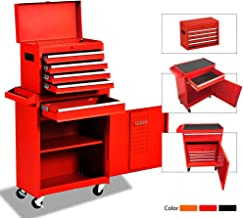 Big Tool Chest,Rolling Tool Chest,Tool Chest with Wheels and Drawers,Removable 4-Wheel Tool Chest,Tool Cabinet with 5 Drawers,Large Capacity Tool Box with Lock,Red