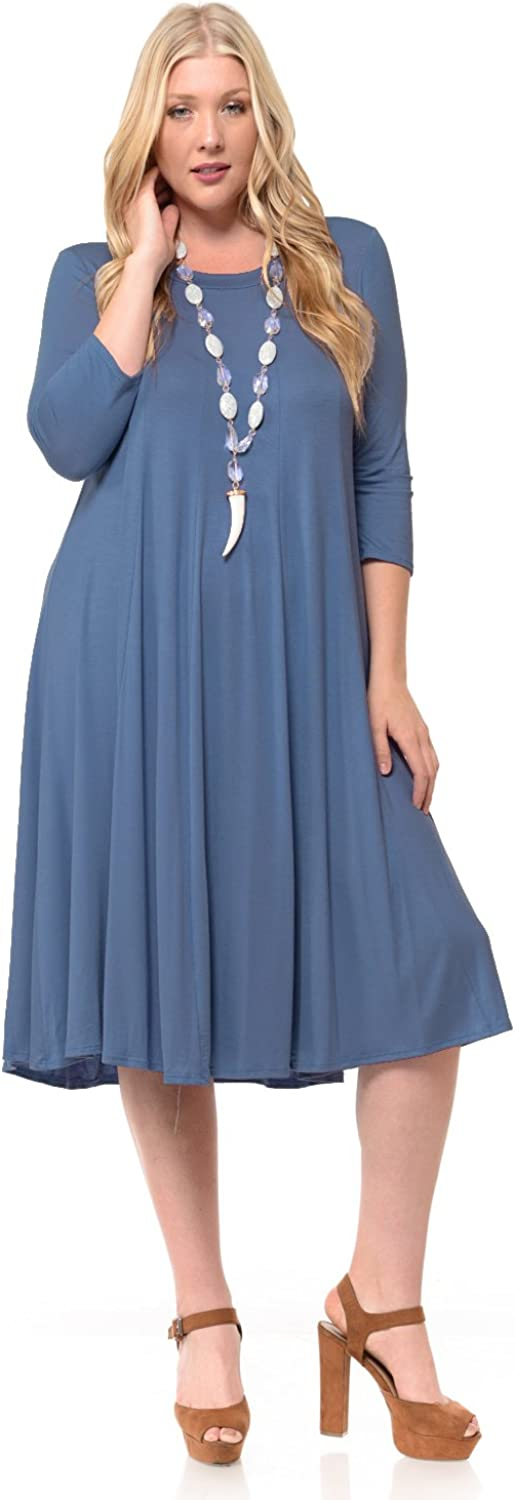 Pastel by Vivienne Women's A-Line Trapeze Midi Dress Plus Size - Made in USA