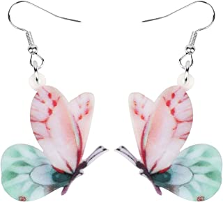 Bonsny Drop Dangle Floral Butterfly Earrings Fashion Insect Jewelry For Women Girls Kids Gift