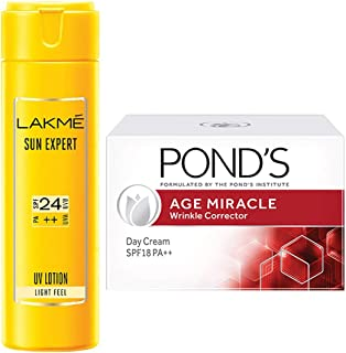 Lakme Sun Expert SPF 24 PA Fairness UV Sunscreen Lotion, 60ml & Ponds Age Miracle Wrinkle Corrector Day Cream SPF 18 PA++ 20g