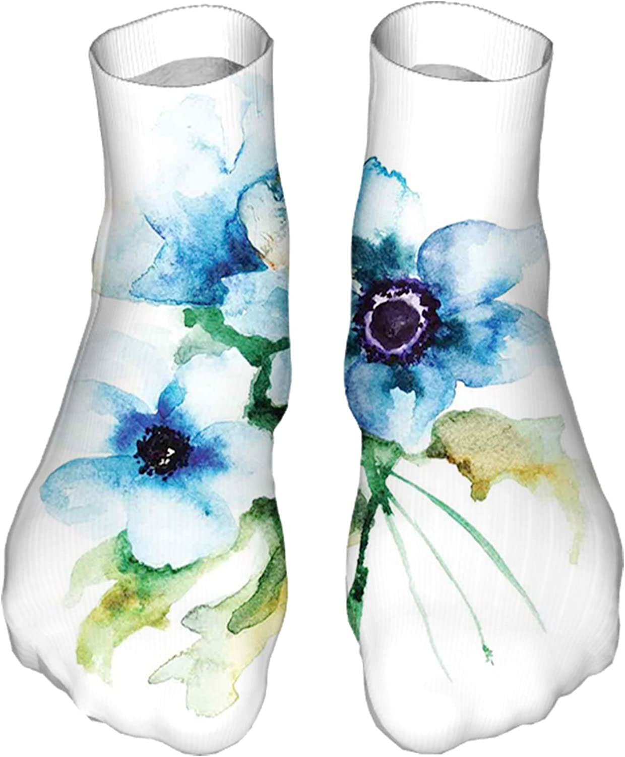 Men's and Women's Funny Casual Socks Pale Colored Summer Flower Painting with Leaves Bouquet