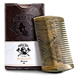 Beard Comb Kit for Men - Great for Head Hair, Beard Grooming & Mustache - Handmade Premium Wood - Fine Dual Action Teeth - Beard Care Kit for Men, Gift 'Hunter Jack' PU Leather Case - Free eBook