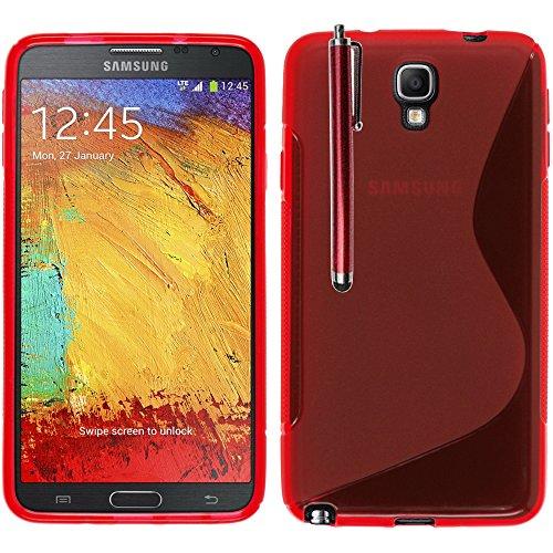 Annart® Schutzhülle S-Line TPU Gel Silikon weich für Samsung Galaxy Note 3 Neo/Lite SM-N7505 + Eingabestift – Rot
