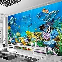 3D水中世界の壁紙壁画壁紙家の装飾リビングルームソファテレビ背景壁装飾写真壁紙-350x256cm