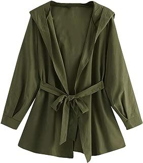 SweatyRocks Women's Long Sleeve Open Front Trench Coat Waterfall Hoodie Outwear