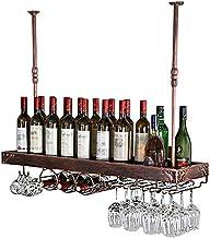 HTTJJ Wine Rack Wine Rack Hanging Floating Bar Retro Hanging Wine Glass Rack Cup Holder Inverted Wine Rack Tapestry Bar Re...