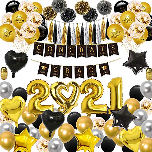 Graduation 2021 Decorations - Graduation Decorations 2021 Pack, Graduation Balloon Pack, Including 50 Latex Balloons, 15 Confetti Balloons, 8 Foil Ballons, 2021 Balloons, 6 Pom Poms, a Graduation Banner, 2 Gold Ribbon and 15 Tissue Tassels Garland