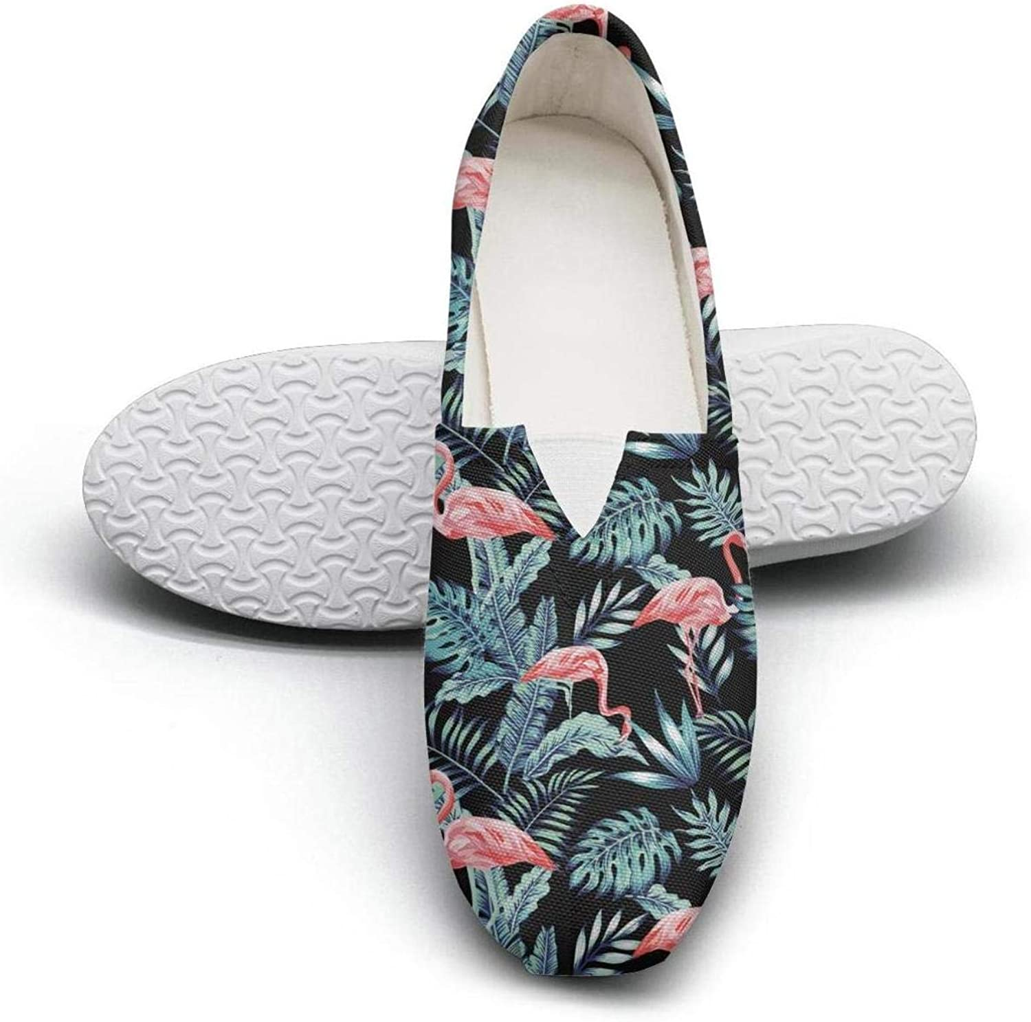 Erdoxo Pink Flamingo Palm Tropical Plant Prints Youth Classic Canvas Sneakers Low Cut Solid color Footwear
