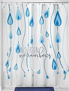 """iDesign InterDesign Raindrop Fabric Shower Curtain, 72"""" x 72"""" – Blue Multi-Color SC"""