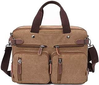3-Way Convertible Briefcase Laptop Backpack Messenger Bag Backpack for Man Women (BROWN)