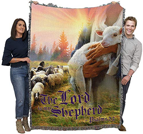 The Lord is My Shepherd - Scriptures - Psalm 23 - Jesus with Lamb - Sympathy - Cotton Woven Blanket Throw - Made in The USA (72x54)