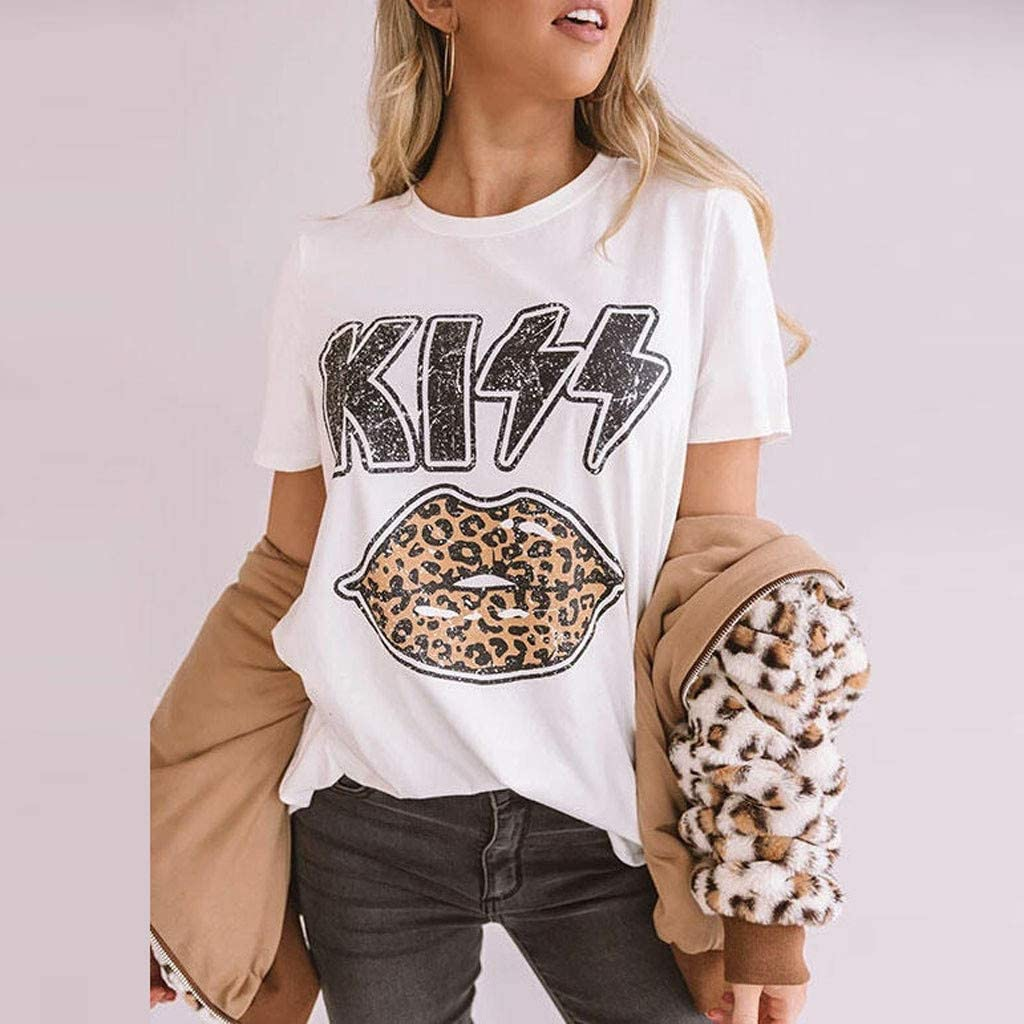 VBNG Women Casual Short Sleeve Leopard Lips Printed Round Neck Cute Blouse T-Shirt Tee Shirt