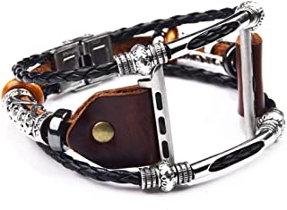 Fancy Watch Band Vintage Art Style Wirst Strap Belt Handmade Bracelet Unique Design Bangle Leather Cords with Beads Charms by CHAMPLED Compatible Apple i-Watch 1 2 3 4 Series (Brown, 42mm-44mm)