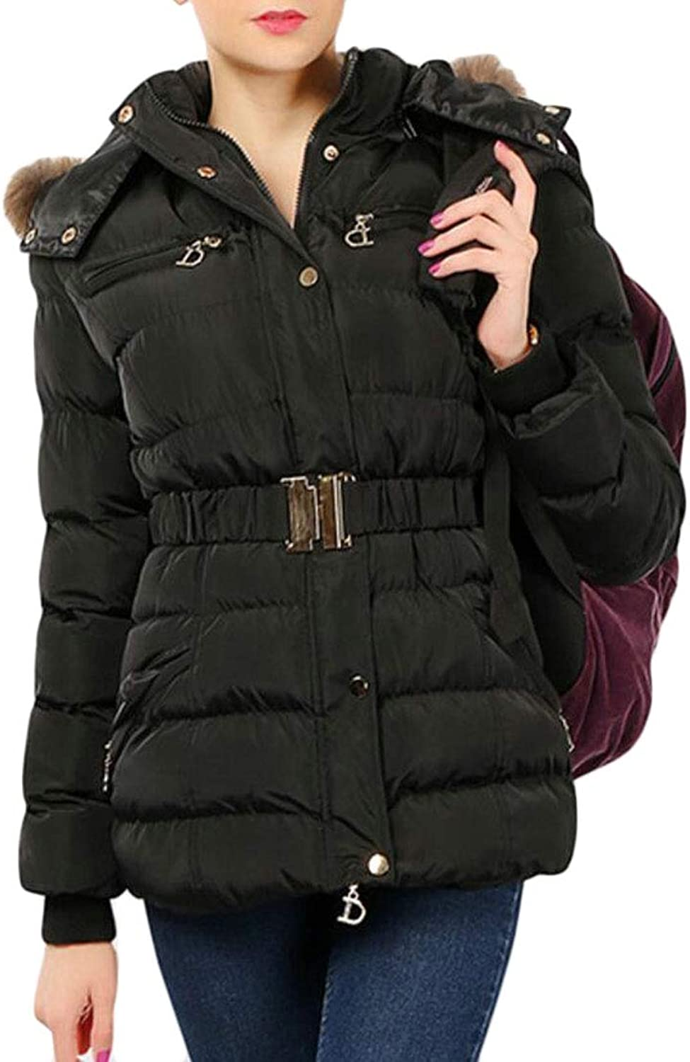 Esast Womens Quilted Coat Faux Fur Collar Hooded Down Jacket Parka Outerwear