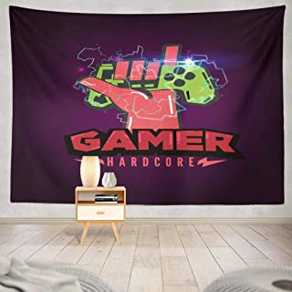 GALMAXS7 Gaming Wall Tapestry,Gamepad Retro Rock Iconic Gestures neon Gaming Room Decor red and Green Posters for Room Aes...