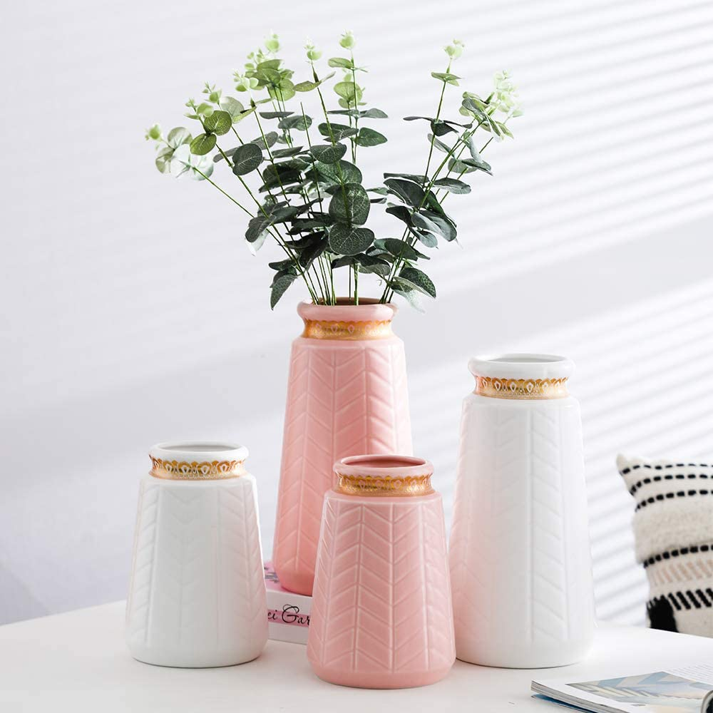 HCHLQLZ White gold 7inch/Ceramic Flower Vase Home Decor Vase and Table Centerpieces Vase for Friends and Family Christmas Wedding Bridal Shower