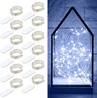 Govee 12 Packs Fairy String Lights, 3.3FT 20 LEDs Battery Operated Jar Lights Bedroom Patio Wedding Party Christmas (Cool White)
