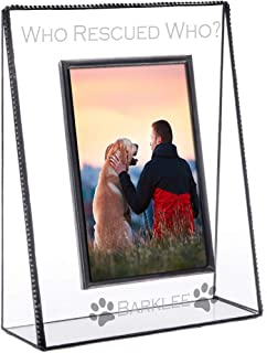 J Devlin Pic 319-46V EP595 Dog Picture Frame Personalized Tabletop 4 x 6 Vertical Photo Engraved Clear Glass Pet Rescue