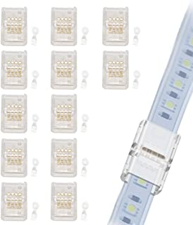 GOOCHAN LED Connector for 10MM Wide IP68 RGB LED Strip Light- Strip to Strip Quick Connection (12Pcs 4-Pin Strip to Strip ...