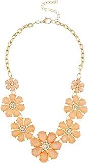 Goldtone Flowers Bib Statement Chain Necklace