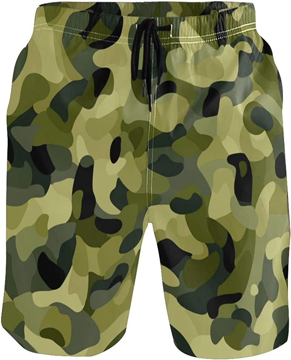 ALAZA Mens Swim Trunks, Camouflage Background Mens Boardshorts Beach Swimming Shorts for Men Mesh Liningwith Pockets Small