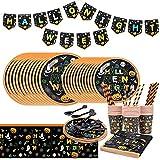 Set di Stoviglie a Tema Halloween BESTZY 130PCS Forniture per Feste di Halloween Stoviglie Monouso Inclusi Banner, Bicchieri di Carta, Piatti, forchette, coltelli, cucchiai, tovaglioli