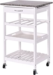 COSTWAY VD-53032HW Rolling Wood Kitchen Trolley, White Granite Top