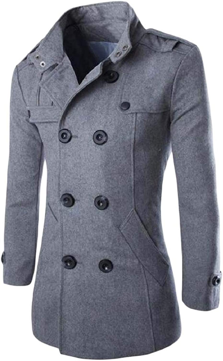 Fieer Mens Overcoat Wool Blend Outwear Tops Double-Breasted Peacoat