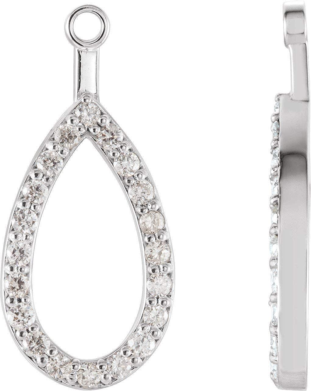 Solid 14K White Gold 1/5 CTW Diamond Teardrop Earring Jackets