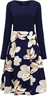 Fashion Women Print V-Neck Dress Casual Plus Size Flower Print V-Neck Long Sleeve Loose Dress Flowy Maxi Dress