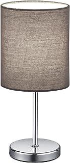 Reality Leuchten Lampe de table Jerry, abat-jour en tissu, E14, 40W, Gris, 13x 13x 28,5cm