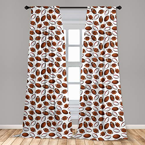 "Ambesonne American Football 2 Panel Curtain Set, Classic Design Rugby Balls in Cartoon Style Sports Competition, Lightweight Window Treatment Living Room Bedroom Decor, 56"" x 84"", Caramel White"