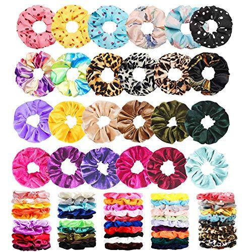 75 Pcs Velvet Hair Scrunchies Silk Scrunchies Chiffon Flower Hair Bands for...