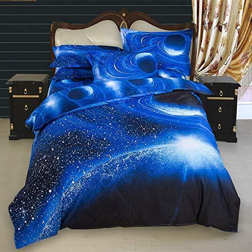 Sticker superb 180 x 220 cm Funda de Edredón Galaxia Juego de Ropa de Cama 3 Piezas (Azul Galaxia, 180 x 220 cm - Cama 105/90 cm)