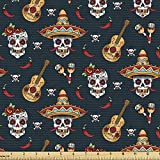 Ambesonne Mexican Fabric by The Yard, Detailed Floral Sugar Skulls with Sombrero Hats Chili Peppers and Guitars, Decorative Fabric for Upholstery and Home Accents, 1 Yard, Navy Red