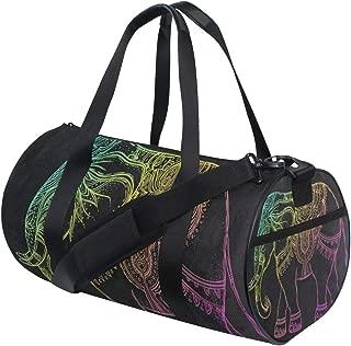 Sports Bag Tribal Style Elephant Black Mens Duffle Luggage Travel Bags Womens Lightweight Gym bag