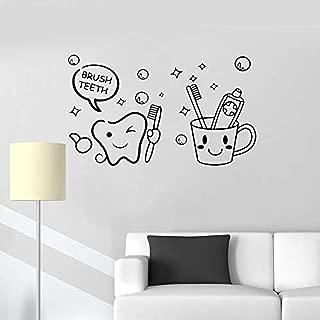 FSDS Wall Vinyl Decal Cute Brush Teeth Sticker Dental Care Tool Decal Tooth Kids Room Art Mural Bathroom Waterproof Removable Poster