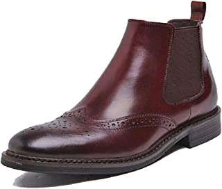 Cover Plus 2 Color Size 5-12 Genuine Leather Dress Wingtip Chelsea Ankle Boots Slip On Mens Shoes