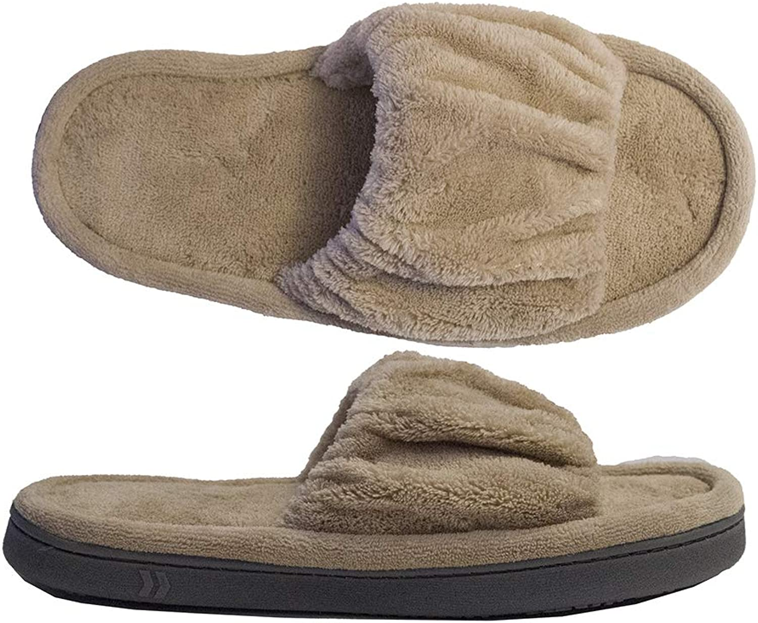 Isotoner Women's Micrederry Ruched Open Toe Slide Slipper