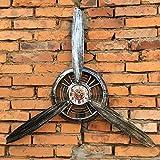ZYFBG Estantes de Pared Loft Viento Industrial Aviones Reloj Hélice de Hierro Forjado Decoración de Pared Colgante de Pared Bar Neta Café Colgante Decoración de La Pared Accesorios (Color : E)
