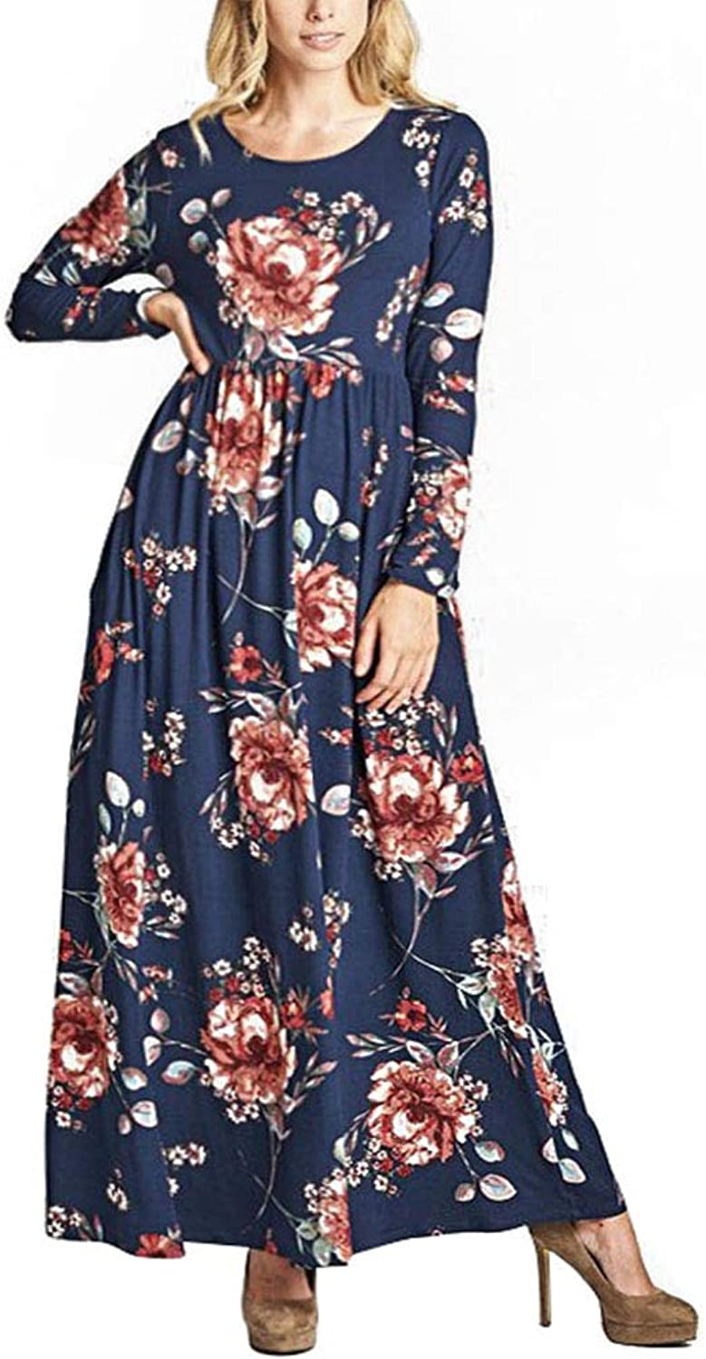 Gersymi Women's Floral Print Tunic Maxi Dresses with Sleeves Casual Loose Plain Swing Long Party Maxi Dress Pockets Navy bluee