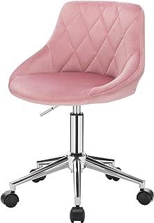 EUGAD 1 X Tabouret de Bureau Tabouret Roulant pivotant et réglable,Chaise de Bureau en Velours à roulettes,Rose 0033BGY