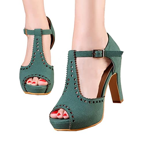188371931605 getmorebeauty Women s Vintage Suede Ankle T Straps Dress Block Heeled  Sandals Shoes
