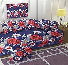 Gurnoor 3 D Printed Floral Diwan Set(Set of 8)(Blue)