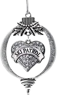 Inspired Silver - Ski Patrol Charm Ornament - Silver Pave Heart Charm Holiday Ornaments with Cubic Zirconia Jewelry