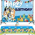 Blue Dog Backdrop and Tablecloth for Sheepdog Theme Birthday Party Supplies, Cartoon Blue Dog Bingo Photography Background Banner with Disposable Table Cover for Kids Party Decorations 5x3FT by