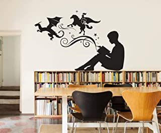 CLIFFBENNETT Boy Reading Magic Book Wall Decal - Vinyl Art Stickers for Homes, Kids Rooms, Schools, Classrooms, Libraries, Bedrooms, and Interiors