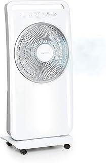 KLARSTEIN Wildwater Ventilador Vertical 2 en 1 – ventilado y humidificador de Aire, caudal de Aire de 3690 m³/h, rotación automática, humidificador por ultrasonido de 1100 ml/h, 3 Modos, Blanco